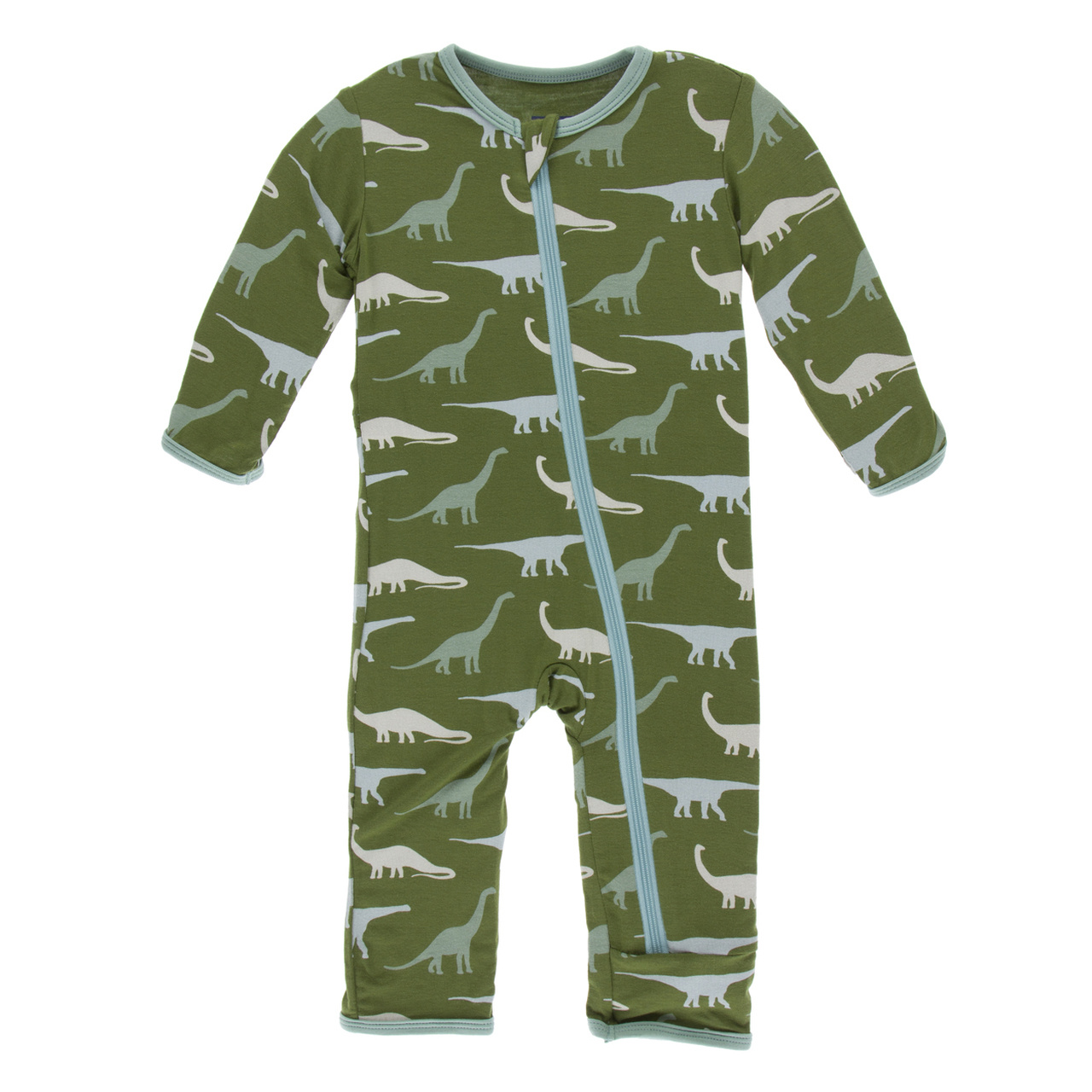 Kickee Pants Applique Coverall with Zipper Moss Sauropods