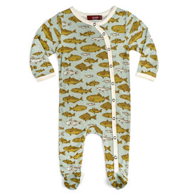 Milkbarn Kids Bamboo Footed Romper - Blue Fish