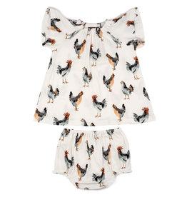 Milkbarn Kids Organic Dress & Bloomer Set - Chickens