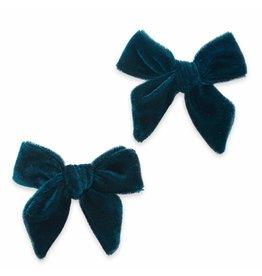 Baby Bling Bows 2PK Velvet Bow Clip - Pine