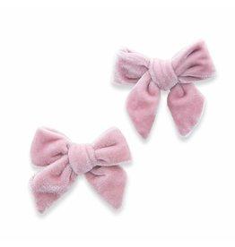 Baby Bling Bows 2PK Velvet Bow Clip - Rose