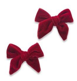 Baby Bling Bows 2PK Velvet Bow Clip - Ruby