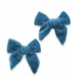 Baby Bling Bows 2PK Velvet Bow Clip - Slate Blue