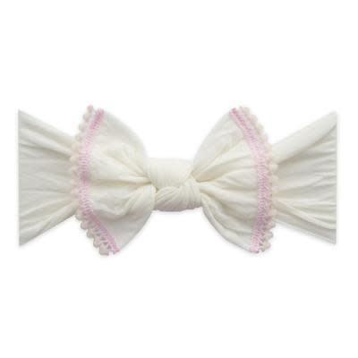 Baby Bling Bows Trimmed Classic Knot Mini Pom - Ivory/Pink