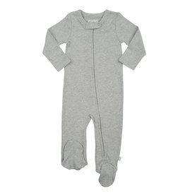 Finn + Emma Organic Cotton Zip Footed Romper, Heather Grey 0-3M