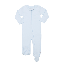 Finn + Emma Organic Cotton Zip Footed Romper, Lt Blue 0-3M