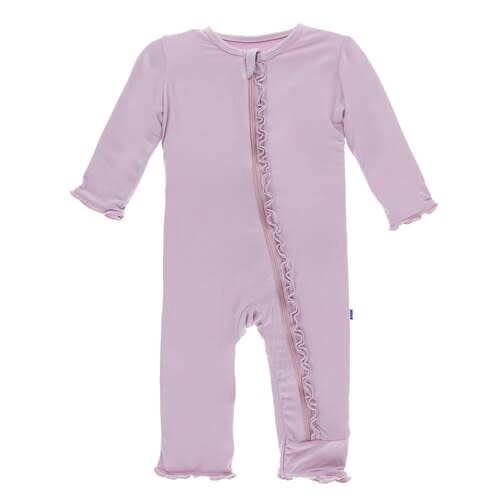 Kickee Pants Solid Muffin Ruffle Coverall with Zipper Sweet Pea