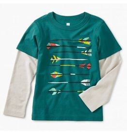 Tea Collection Archery Graphic Layered Tee - Scuba