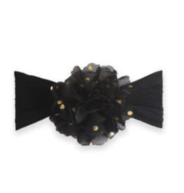 Baby Bling Bows Gold Dot Flower: Black