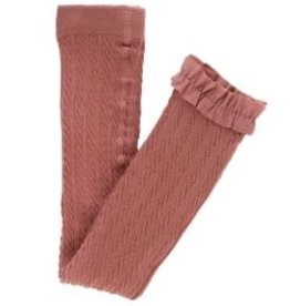 RuffleButts Cable Knit Footless Ruffle Tights, Mauve