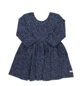 RuffleButts Navy Dots Twirl Dress