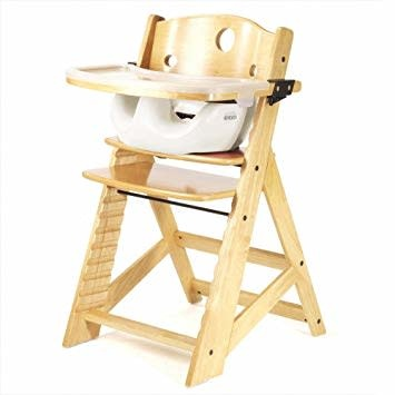 Keekaroo by Bergeron By Design Height Right High Chair with Tray and Cover - Natural with Grey infant insert