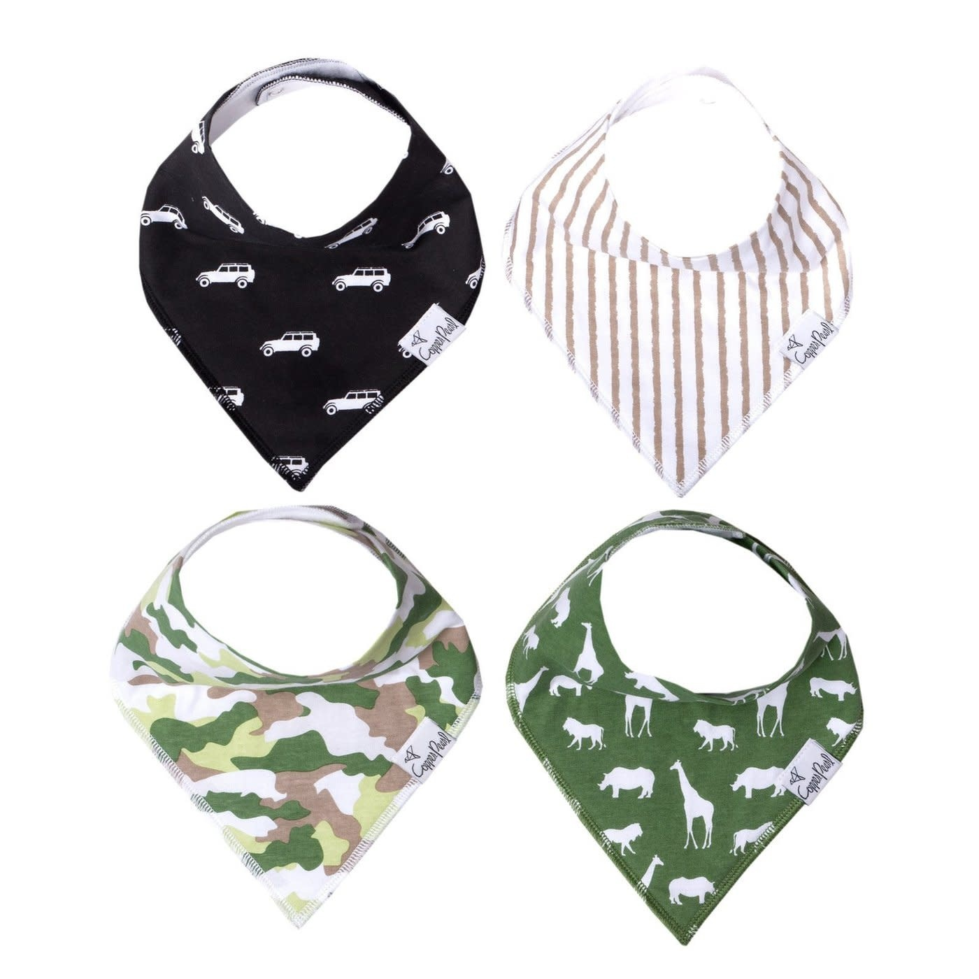 Copper Pearl Bibs - Safari Set - 4 pack