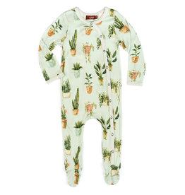 Milkbarn Kids Bamboo Footed Romper - Potted Plants