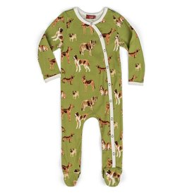 Milkbarn Kids Organic Footed Romper - Green Dog