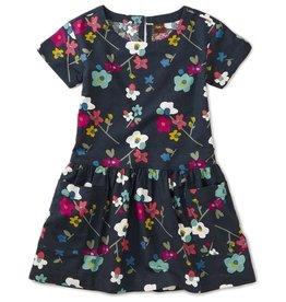 Tea Collection Printed Woven Pocket Dress - Indigo Himalayan Blossoms