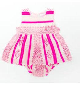 Cheeni Varilyn Dress + Bloomer Set - Pink Stripe  12M