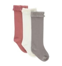 RuffleButts 3-Pack Ivory, Mauve, Gray Knee High Socks