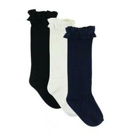 RuffleButts 3-Pack White, Navy, Black Knee High Socks