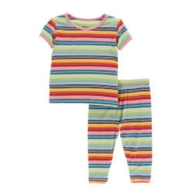 Kickee Pants Print S/S with Pant Pajama Set Cancun Strawberry Stripe 4T