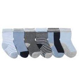 Robeez 6 Pk Socks, Socks, Benjamin Blue 2-4y