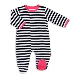 Magnetic Me Black Stripe Pink Trim Velour Magnetic Footie