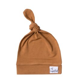 Copper Pearl Top Knot Hat, Camel