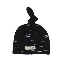 Loved Baby Organic Top Knot Hat - Black Seas 0-3M