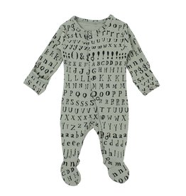 Loved Baby Organic Footed Overall - Seafoam Letters