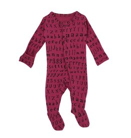 Loved Baby Organic Footed Overall - Magenta Letters