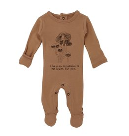 Loved Baby Organic Graphic Footie - Nutmeg Mushroom