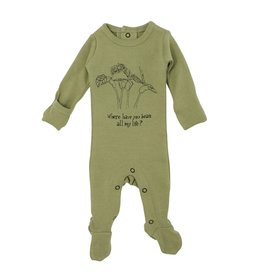 Loved Baby Organic Graphic Footie - Sage Beans