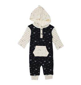 Loved Baby Organic Hooded Long Sleeve Romper - Black Seas