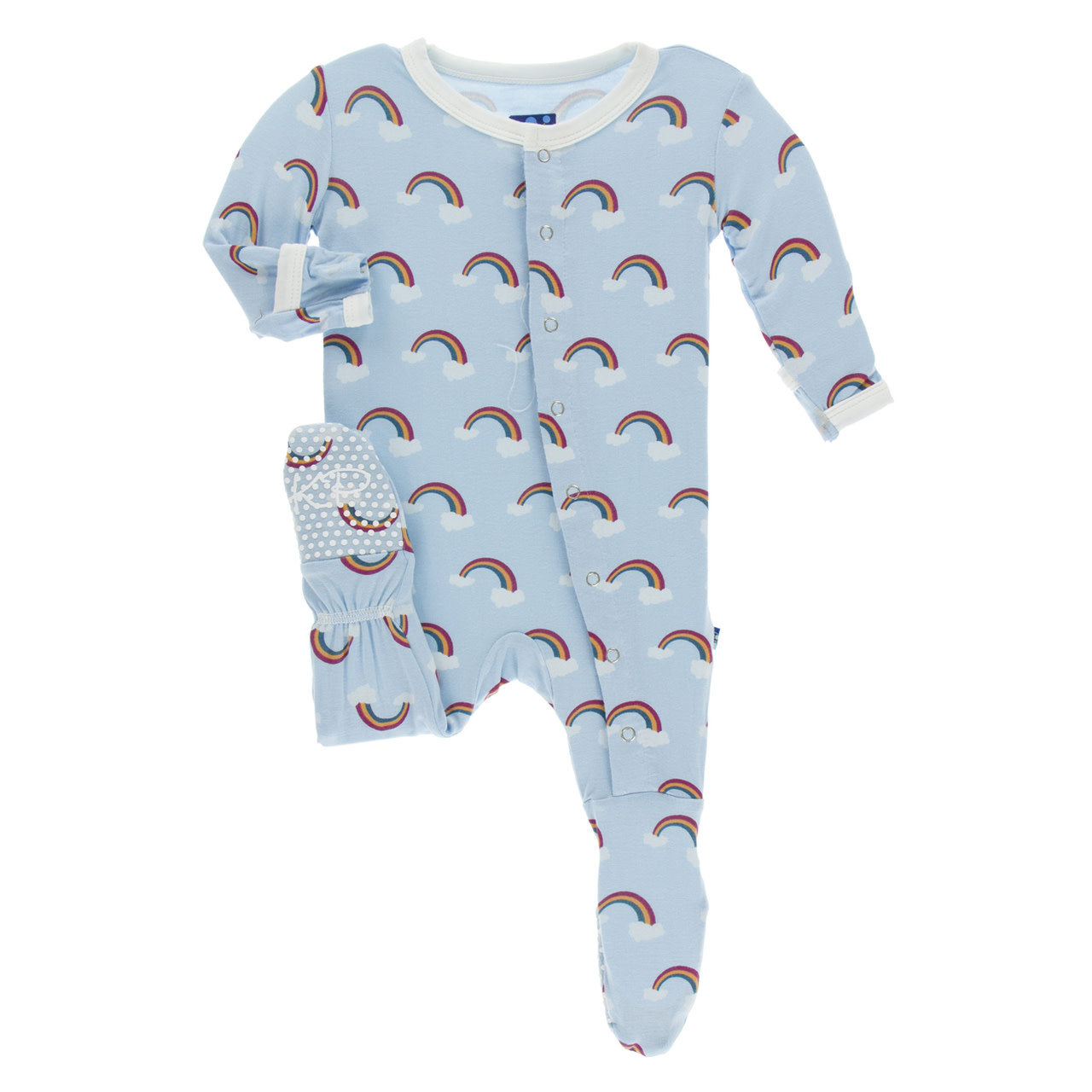 Kickee Pants Print Footie with Snaps Pond Rainbow
