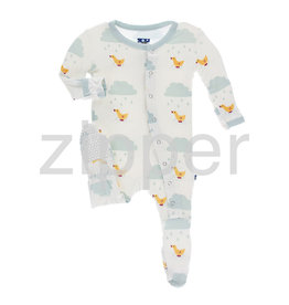 Kickee Pants Print Footie with Zipper Natural Puddle Duck
