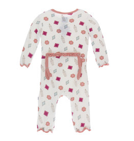 Kickee Pants Print Muffin Ruffle Coverall with Snaps Natural Gems
