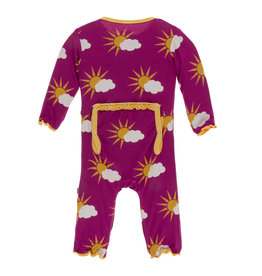 Kickee Pants Print Muffin Ruffle Coverall with Zipper Berry Partial Sun