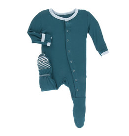 Kickee Pants Solid Footie with Snaps Heritage Blue with Pond NB