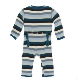 Kickee Pants Print Coverall with Snaps Meteorology Stripe