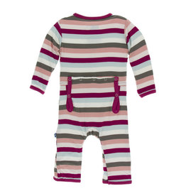 Kickee Pants Print Coverall with Zipper Geology Stripe