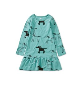Tea Collection Printed Ruffle Dress - Highland Horses