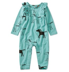 Tea Collection Printed Ruffle Romper - Highland Horses