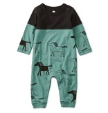 Tea Collection Two-Tone Pieced Romper - Highland Horses
