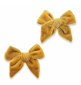 Baby Bling Bows 2PK Velvet Bow Clip - Brass