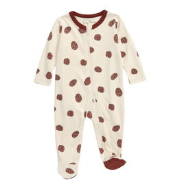 City Mouse Pine Cone 2-way Zip Footed Romper - Natural
