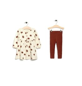 City Mouse Pine Cone Dress and Rust Leggings Set