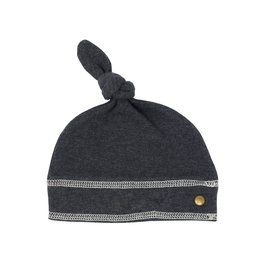 Loved Baby Organic Banded Top Knot Hat - Dark Heather/Beige