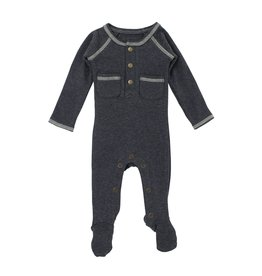 Loved Baby Organic Pocket Footed Overall - Dark Heather/Beige