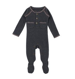Loved Baby Organic Pocket Footed Overall - Dark Heather/Mauve