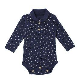 Loved Baby Organic Polo Bodysuit - Navy Dots